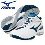 激安SALE ウェーブタイブレーク 2 ホワイト×ネイビー オールコート用 MIZUNO-ミズノ テニス/ソフトテニスシューズ SALE/セール