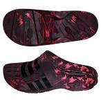 adidas-アディダス デュラモ クロッグ サンダル レッド×ブラック スポーツサンダル/シャワーサンダル