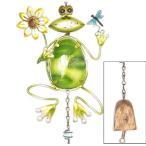 誕生日プレゼント に カエルのベル付き ガーデンオーナメント (A:花 と トンボ) カエル雑貨