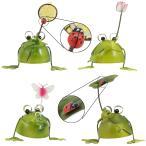 カエル の 置物 (葉,網,花,蝶、てんとう虫付き) ブリキ で作られた4匹のカエルの置物 /  雑貨 グッズ