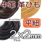 革紐 本革 幅2mmX厚さ2mm 平紐 1m単位 革ひも 測り売り 2.0mm  皮ひも 皮紐 レザーコード