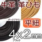 革紐 本革 幅4mmX厚さ2mm 平紐 1m単位 革ひも 測り売り 4.0mm幅  皮ひも 皮紐 レザーコード
