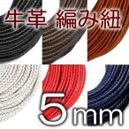 牛革 編み紐 5mm 六つ編み 丸紐 1m単位 革ひも 測り売り 5.0mm 革紐 皮ひも 皮紐 レザーコード 編紐