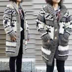 カウチンセーター カーディガン レディース  ロングニット セーター カウチン ローゲージ ペルー 手編み