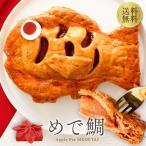 ショッピングメッセージカード無料 めで鯛 鯛の形のアップルパイ 風呂敷包み 送料無料 お祝い 還暦祝い 百日祝い お歳暮