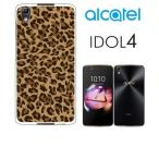 IDOL4 Alcatel ホワイトハードケース ジャケット 小ヒョウ柄-A アニマル ヒョウ柄 豹柄