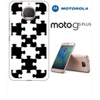 Moto G5s Plus Motorola モトローラ ホワイトハードケース カバー ジャケット パズル チェック a007-sslink