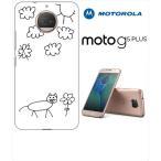 Moto G5s Plus Motorola モトローラ ホワイトハードケース カバー ジャケット ca1189-3 落書き ネコ 猫 花柄