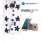 Moto G5s Plus Motorola モトローラ ホワイトハードケース カバー ジャケット 花柄 シンプル シルエット-sslink