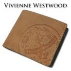 ヴィヴィアンウエストウッド Vivienne Westwood 牛革 エッジ 二つ折り財布 メンズ キャメル