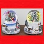 『クリスマス』レジン製オルゴール付きウォーターボール(ライトスノードーム)/2種類
