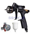 (K.V)DEVILBISS デビルビス スプレーガン DV1-U-000-13-C2+ クリア用低圧  重力式 塗料カップ・手元圧力計付セット