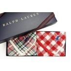 レディース ブランド ラルフローレン タオルハンカチ 2枚 セット 箱付 赤 グリーン チェック  ギンガム チェック