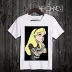 NO COMMENT PARIS ノーコメントパリ 半袖 Tシャツ ホワイト ラウンドネック Vネック メンズ レディース 大きい 小さい  アリス タトゥー alice tatoo