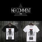 NO COMMENT PARIS ノーコメントパリ 半袖 Tシャツ ブラック ホワイト ラウンドネック Vネック メンズ レディース ミニー・ピース MINNE Peace-LTN35