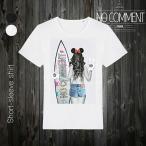 NO COMMENT PARIS ノーコメントパリ 半袖 Tシャツ ブラック ホワイト ラウンドネック Vネック メンズ レディース サーフ ガール surf girl-NCLTN117
