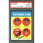 """Pete Rose """"63 ROY Hit King"""" Signed Card 1963 Topps RC #537 Gem 10 Auto PSA B"""