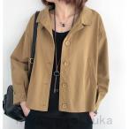 ジャケット レディース スプリングコート 綿 春物 シンプル 20代 30代 40代 50代