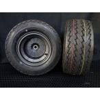 REBEL STREET 8インチ5Jブレーキドラム一体型チューブレスアルミホイール、タイヤセット カラー:ブラック 4スト ジャイロシリーズ