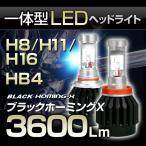 高出力LEDヘッドライト H4 Hi/Low切替 H8/H11/H16/HB4(9006)  30W 3600Lm 『ブラックホーミングX』
