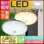 送料無料 オーム電機 小型 LEDシーリングライト 人感センサー付 光センサー 天井照明 電球色450lm 昼光色500lm 40W相当 おしゃれ