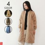 コート レディース キルティングコート 秋 冬 ジャンパー アウター ノーカラーコート 大きいサイズ ロング丈 中綿入り