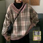 トレーナー レディース 秋 カットソー チェック柄 Vネック 長袖 ドッキング 大きいサイズ 体型カバー