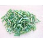 ガラスビーズ(M) 竹ビーズ 6.5x2mm 緑色 グリーン 約100個