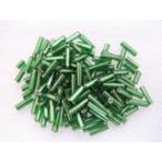 ガラスビーズ(M) 竹ビーズ 6.5x2mm メタリックグリーン 約100個