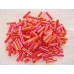 ガラスビーズ(M) 竹ビーズ 6.5x2mm レッド 赤色 約100個