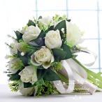 ウエディングブーケ 安い 結婚式 ローズ 造花 花嫁  ウェディング用 アレンジメント ブーケ手作り ブライダルブーケ