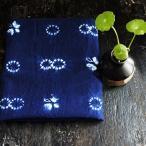 藍染め生地 、アジアンインディゴ、藍プリント生地、平織生地、DIY端切れ布、手芸、ハンドクラフト、縫製布、ミシンDIY  BWW-006