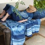 藍染めラグ、刺し子敷物、絞りデザイン、草木染めインテリアファブリック、アジアンインディゴマット PFGE-007