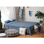 藍染めラグ、刺し子敷物、絞りデザイン、草木染めインテリアファブリック、アジアンインディゴマット PFGE-008