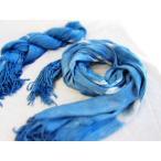藍染めマフラー、レディース、メンズMuffler、インディゴストール、首巻、藍色ねじねじ、藍染め肩掛け、インディゴブルー XD-008