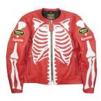 シュプリーム SUPREME ×Vanson 17AW Leather Bones Jacket レザージャケット 赤 Size【L】 【新古品・未使用品】