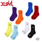 X-girl LOGO 2P MIDDLE SOCKS 105215054004 エックスガール ロゴ 2パック ミドル ソックス 靴下 レディース 2足セット XGIRL正規販売店