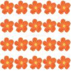 【ノーブランド品】手芸 クラフト用 手編み アップリケ フラワー型 4cm (オレンジ) 20枚