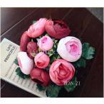 Yahoo!STKショップ人工結婚式シルク椿の花の女の子ブライダルブーケワインレッド