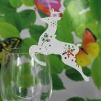 ノーブランド品結婚式 ウェディング用 ワイングラス レーザーカット 席札 ネームカード シカ型 (アイスホワイト) 50枚