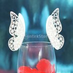 【ノーブランド品】結婚式 パーティー用 ワイングラス 席札 ネームカード 蝶型 (アイスホワイト) A  50枚