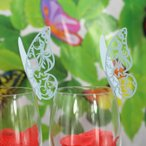 ノーブランド品結婚式 パーティー クリスマス テーブル ワイン グラス カード  メッセージ用カード 席札  装飾  蝶型 50枚 青
