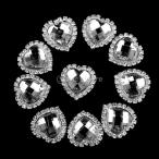 【Phenovo】ビーズ アクセサリーパーツ 縫製 水晶ボタン ハート状 キラキラ 手芸材料 クリスタル パールボタン