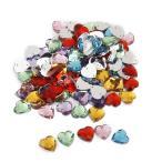 ビーズ アクセサリーパーツ 縫製 水晶ボタン キラキラ 手芸材料 クリスタル ハート (NO1)