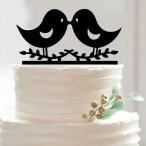 結婚式 ウェディング対応 アクリル製 ウェディングケーキ トッパー キスする小鳥型
