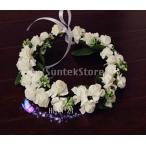 【ノーブランド品】結婚式 ウェディング用 花冠 ヘッドリース フラワークラウン リボン付 (ホワイト)