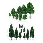 【ノーブランド品】22本セット 樹木  木 モデルツリー 情景コレクション ザ ・ 鉄道模型・ジオラマ・建築模型・電車模型に  3-16 cm 緑