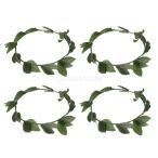 緑の葉 ギリシャ女神 ヘアバンド 花輪 大人 ウェディング グリーン 4枚
