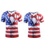 2枚セット 男女兼用 3D アメリカ国旗柄 半袖 シャツ トップ 通気性 ソフト 快適 L + M