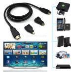 ノーブランド品3in 1  HDMI ー Mini マイクロHDMI V1.4 アダプターコンバーター  1.5m ケーブル  1080P